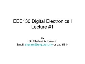 EEE130 Digital Electronics I Lecture #1
