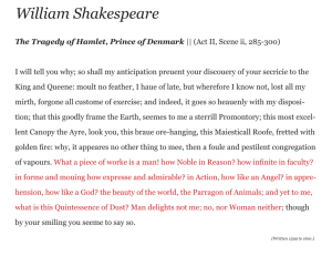 William Shakespeare, monologue from Hamlet