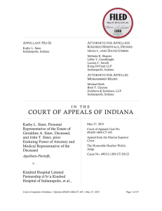 Siner v. Kindred Hospital Indianapolis (Ind App 2015)