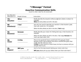 """I Message"" Format - Dr. Ray Wm. Smith"
