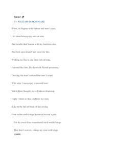 Sonnet 29 BY ​WILLIAM SHAKESPEARE When, in disgrace with