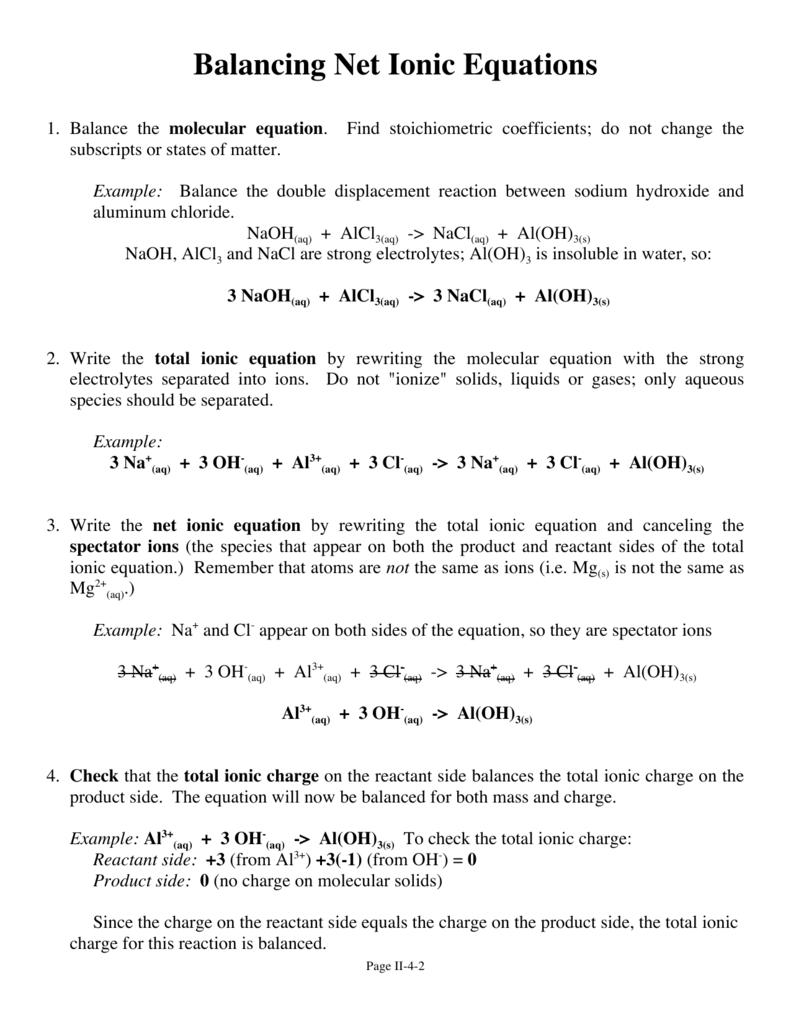 Balancing Net Ionic Equations