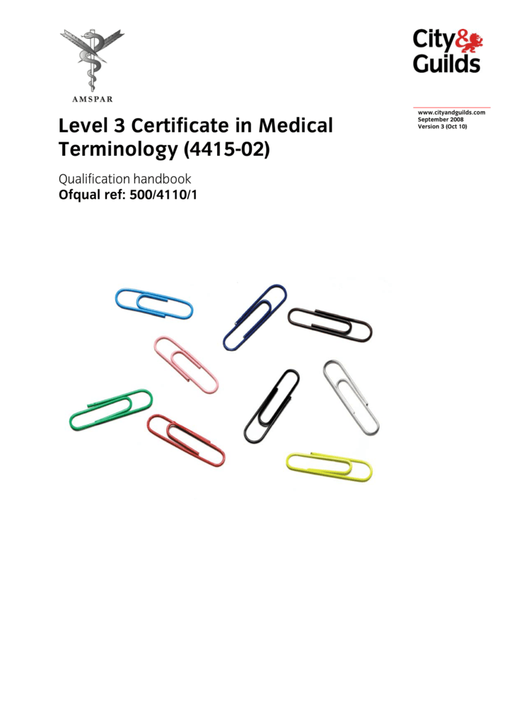 Level 3 Certificate In Medical Terminology