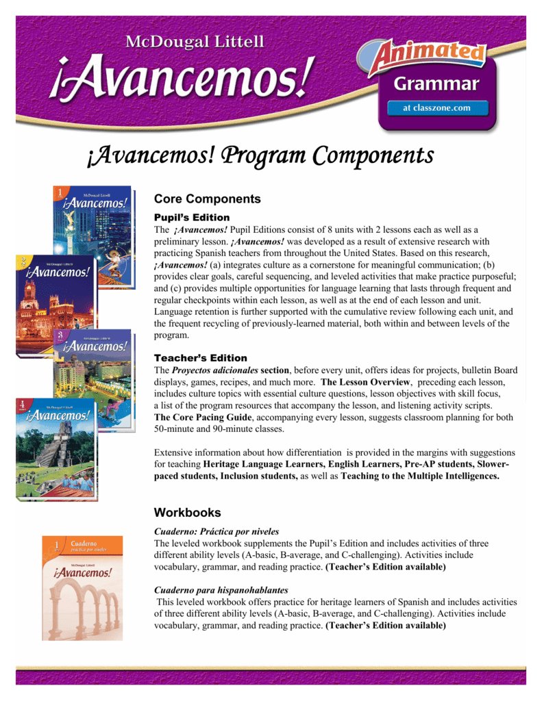Workbooks avancemos 2 workbook answers online : Avancemos Program Components 1