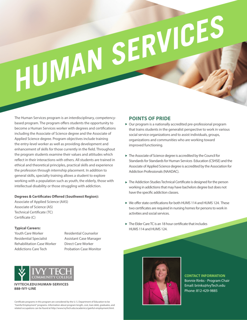 Human Services Ivy Tech Community College