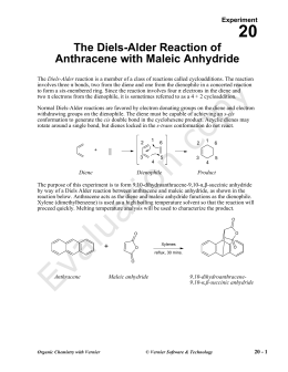 lab 4 results diels alder reaction The diels-alder reaction is a pericyclic [4+2] cycloaddition, in which a conjugated diene and an isolated alkene add together in a single step without intermediates by a cyclic redistribution.