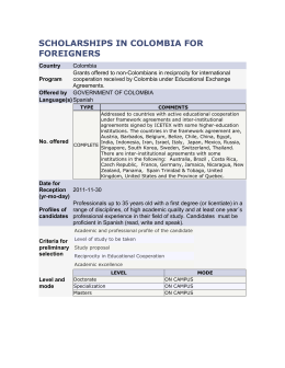 SCHOLARSHIPS IN COLOMBIA FOR FOREIGNERS