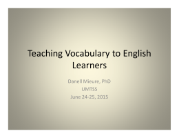 Teaching Vocabulary to English Learners