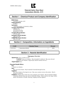 Material Safety Data Sheet Ammonium chloride, ACS Section 1