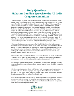 Study Questions: Mahatma Gandhi's Speech to the All India