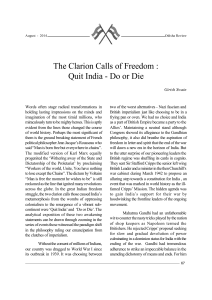 The Clarion Calls of Freedom : Quit India - Do or Die