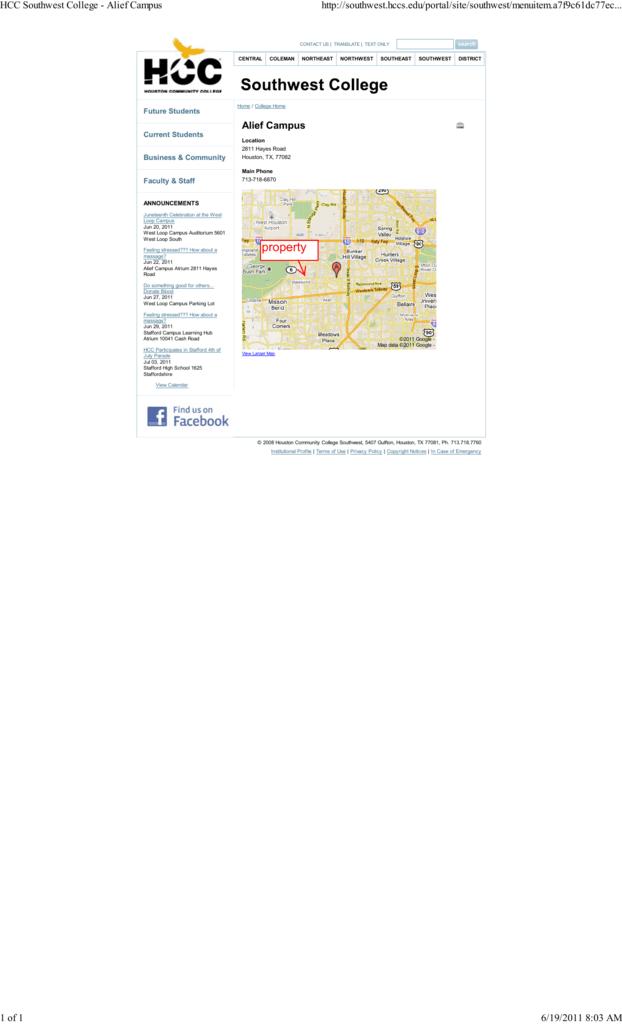 Hcc Alief Campus Map.Alief Campus Inside Hccs