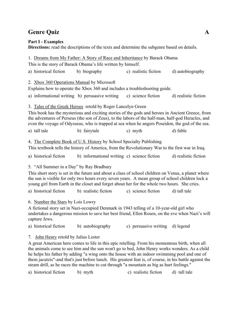 Genre Quiz - ereadingworksheets