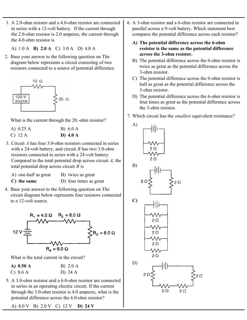 A 10 Ab 20 Ac 30 Ad 40 1 Ohm Resistor And Potential Differences Across Battery Each Circuit