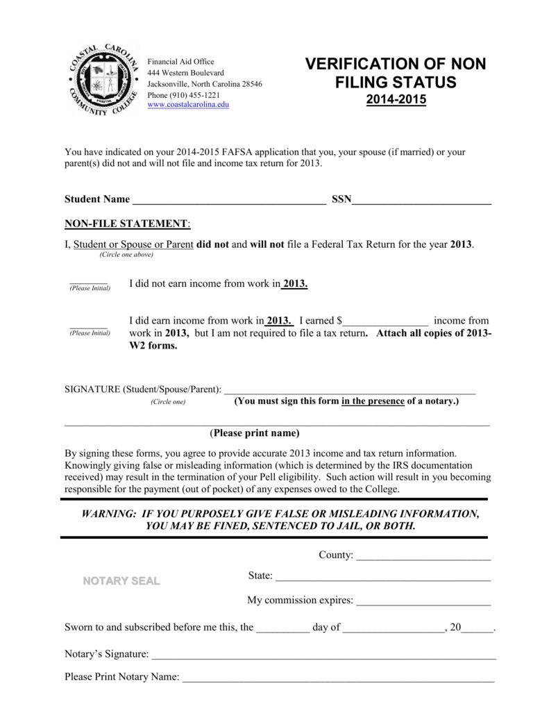 Verification of non filing status coastal carolina community college falaconquin