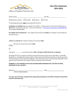 Non-Filer Statement 2015-2016 - Office of Student Financial Aid