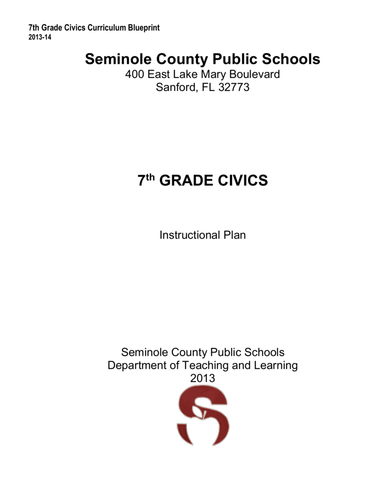 florida 7th grade civics pacing guide