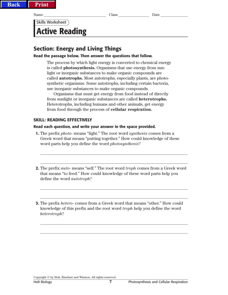 Worksheets Holt Biology Worksheet Answers hrw bio crf ch 05 p01 56