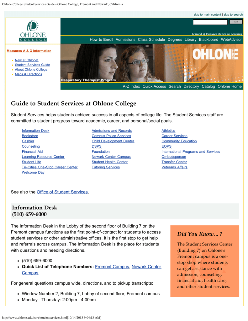 Ohlone College Student Services Guide