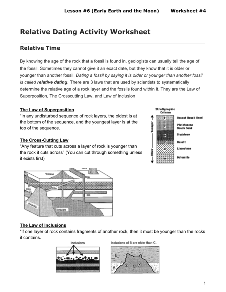 absolute and relative dating of fossils worksheet