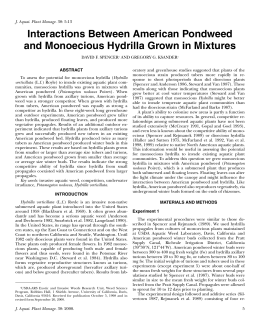 Interactions Between American Pondweed and Monoecious Hydrilla