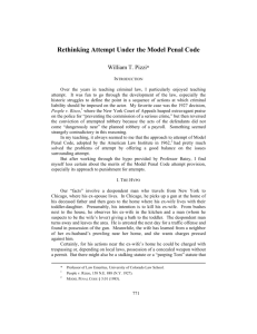 Rethinking Attempt Under the Model Penal Code