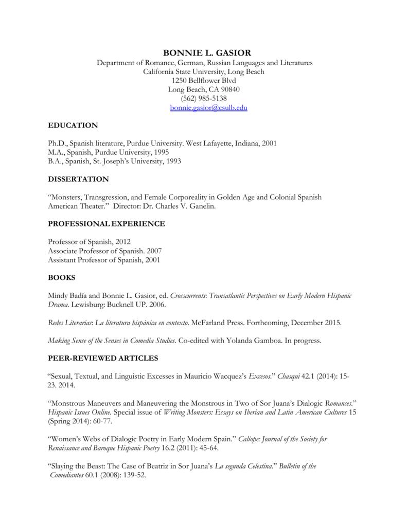 Full Curriculum Vitae - College of Liberal Arts, CSULB