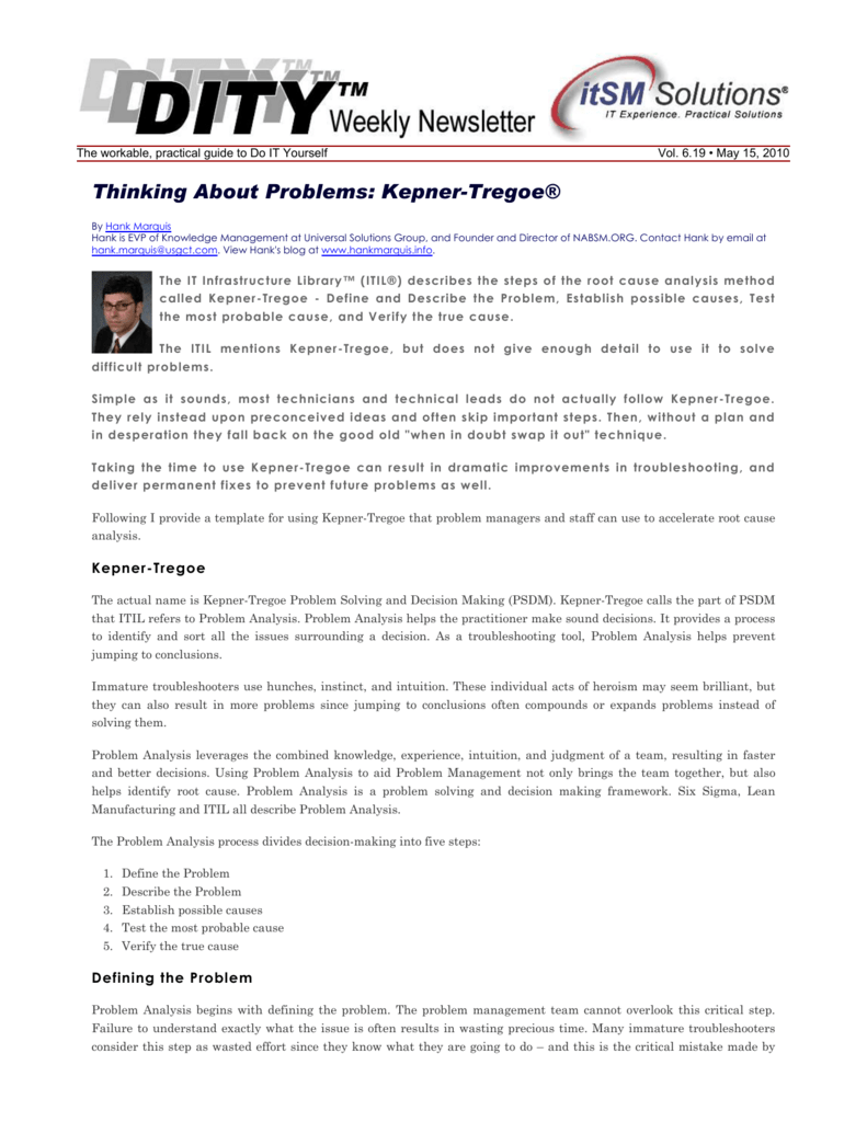 Thinking About Problems: Kepner-Tregoe