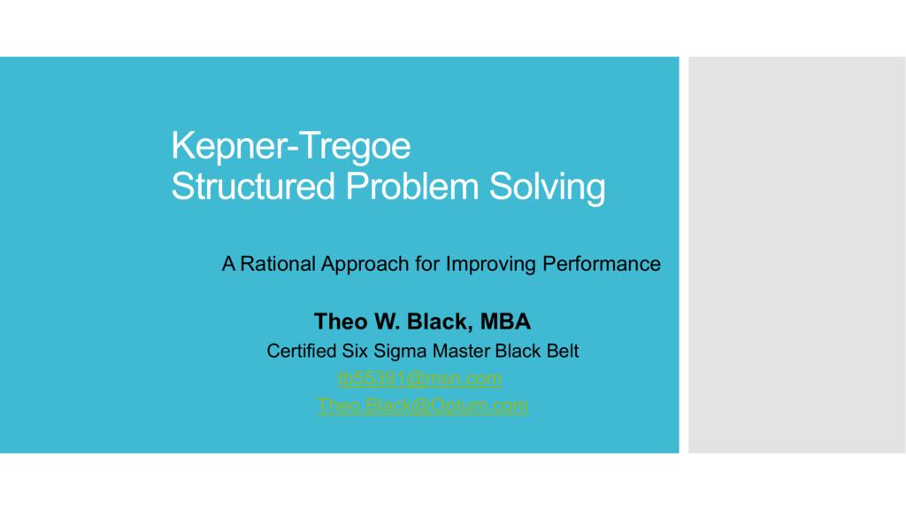Kt Structured Problem Solving