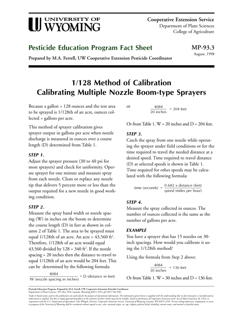Worksheets Sprayer Calibration Worksheet 1128 method of calibration university wyoming cooperative