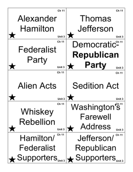 Alexander Hamilton Thomas Jefferson Federalist Party Democratic