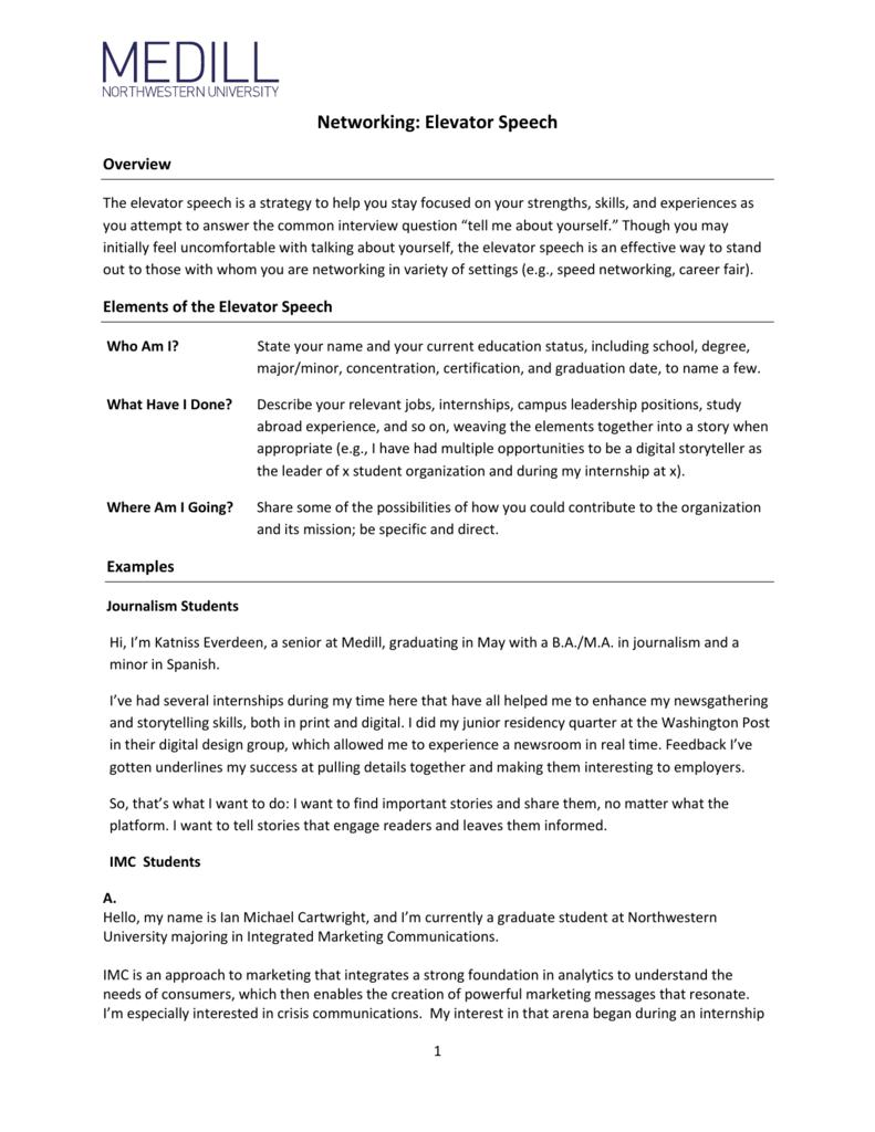 Networking: Elevator Speech - Medill School of Journalism