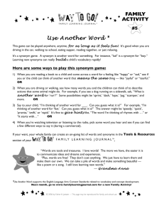 Use Another Word - Family Learning Journal