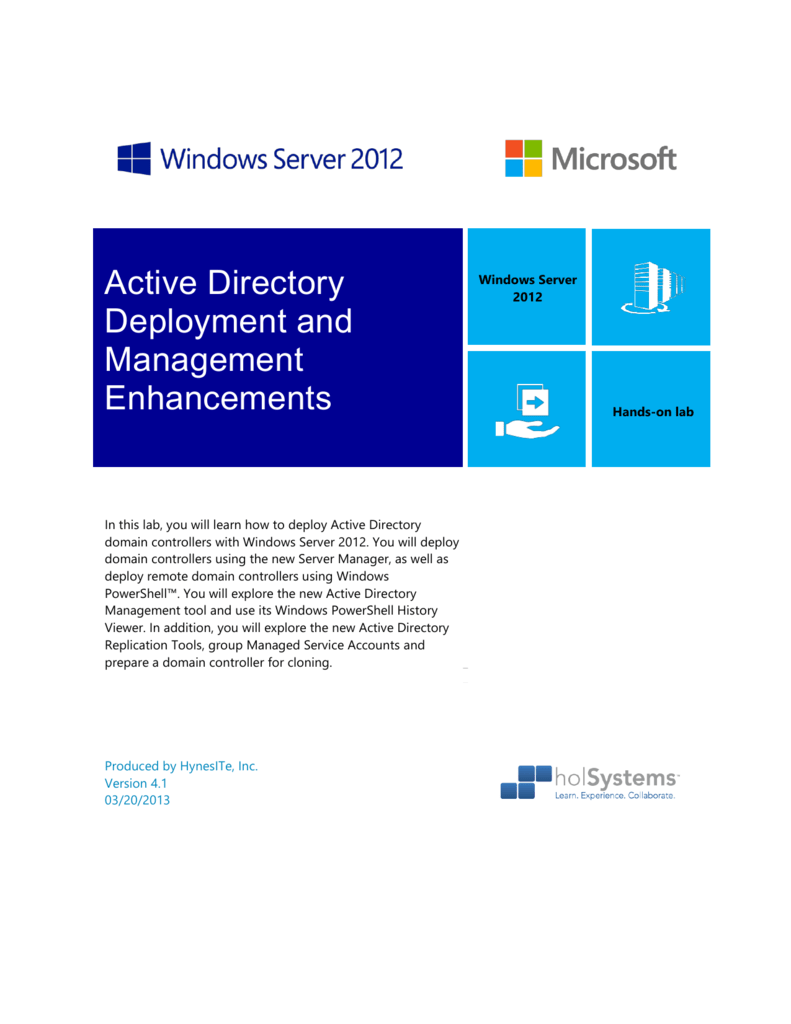 Active Directory Deployment and Management Enhancements