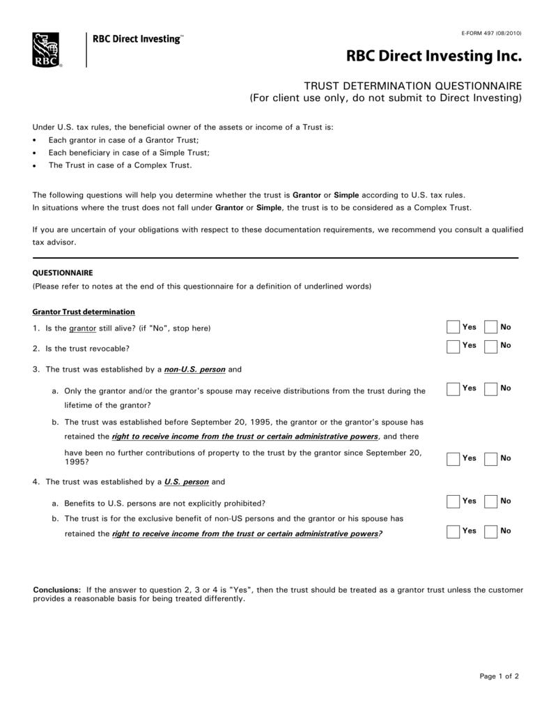 Formal Trust Questionnaire
