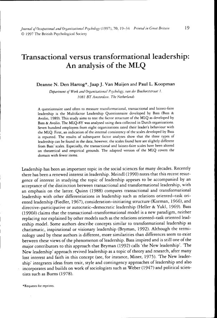 mlq transformational leadership