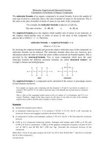 Molecular, Empirical and Structural Formulae Calculations of