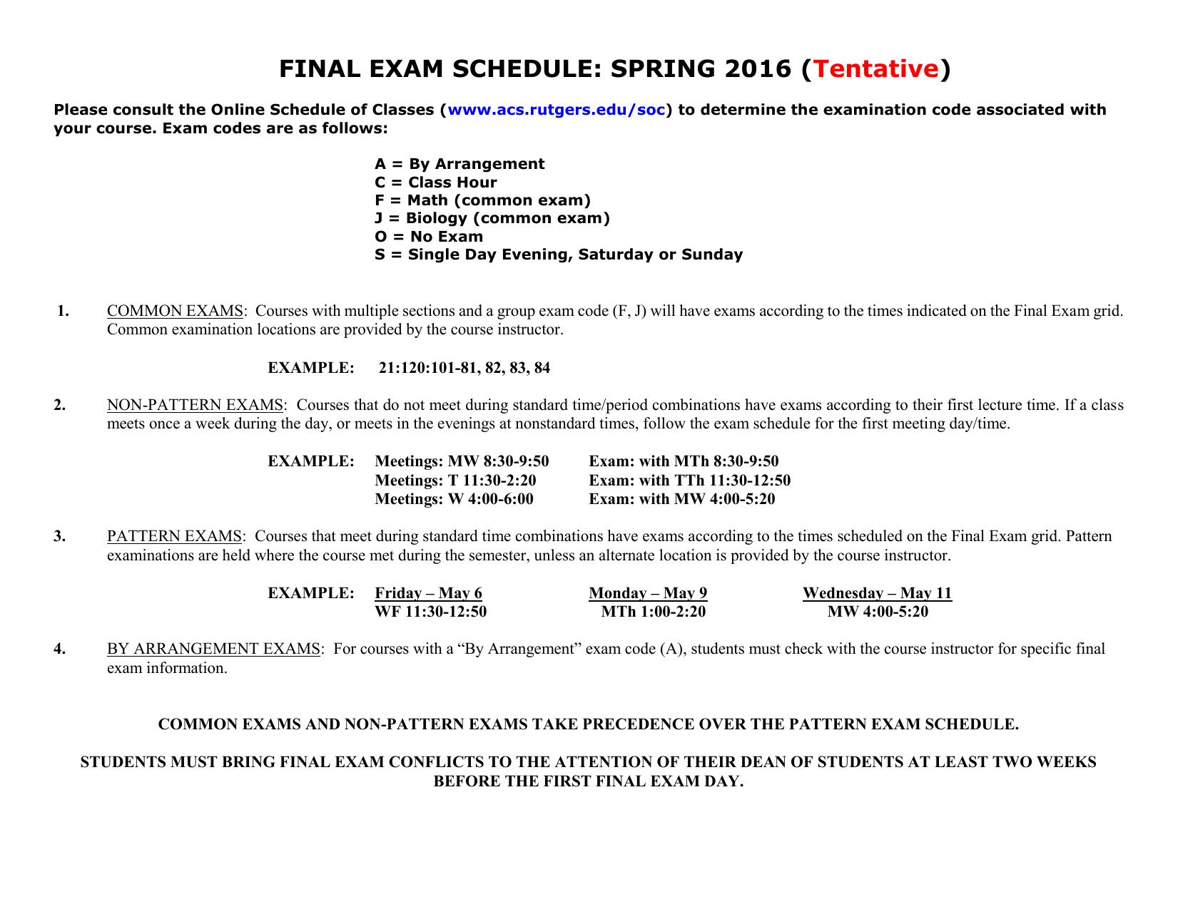 Rutgers Final Exam Schedule Spring 2019 FINAL EXAM SCHEDULE: SPRING 2016 (Tentative)