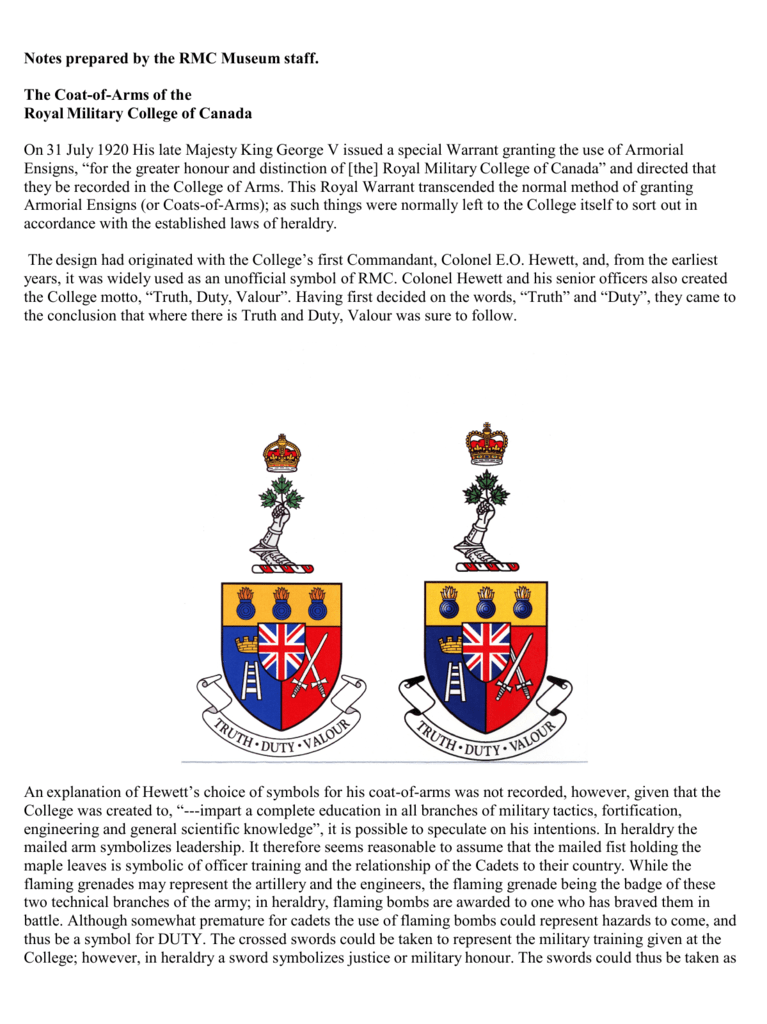 The Coat-of-Arms of the - RMC Club of Canada