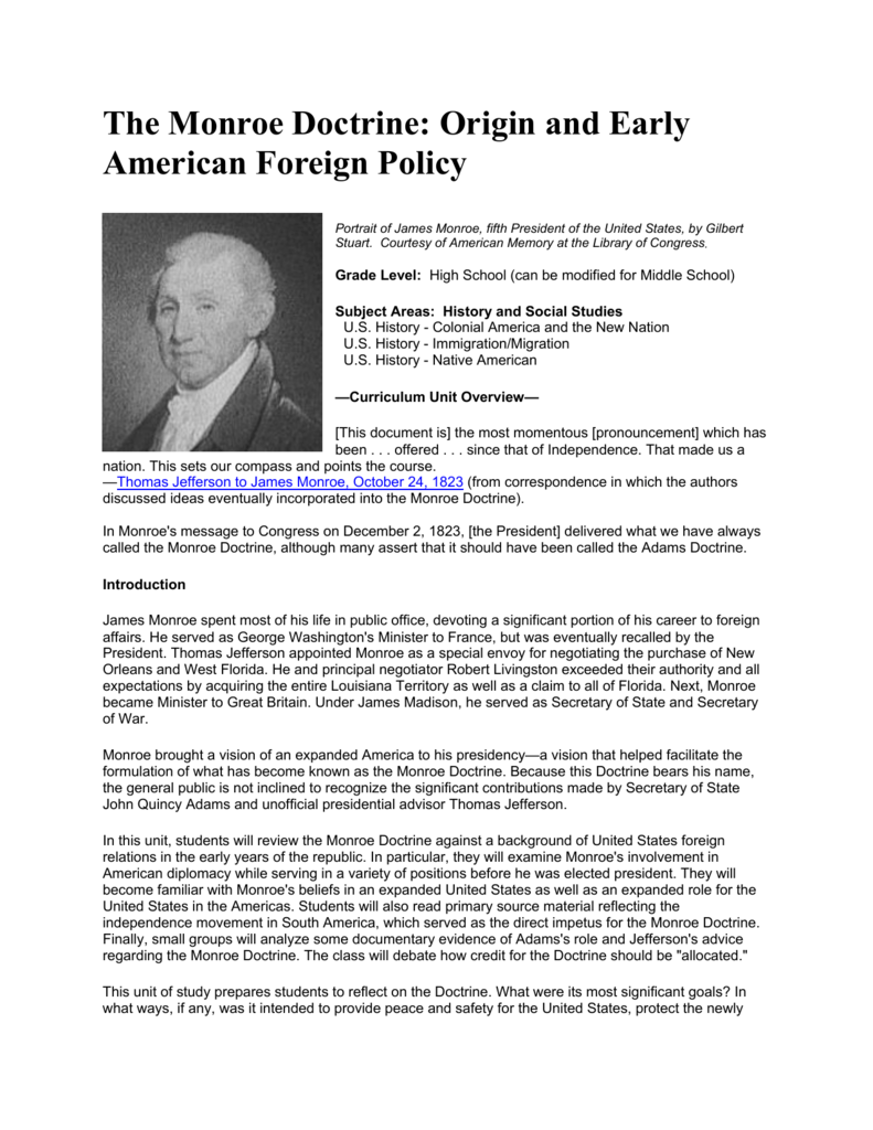 The Monroe Doctrine Origin and Early American Foreign Policy – Monroe Doctrine Worksheet