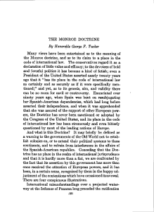 THE MONROE DOCTRINE By Honorable George F. Tucker Many