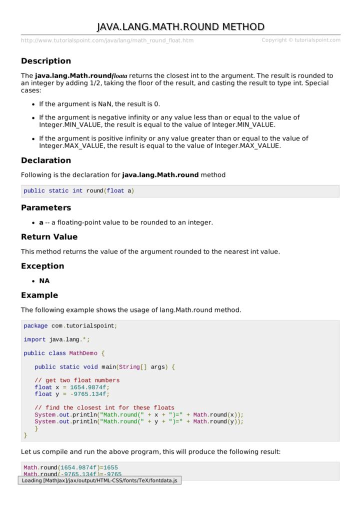 Java.lang.Math.round() Method