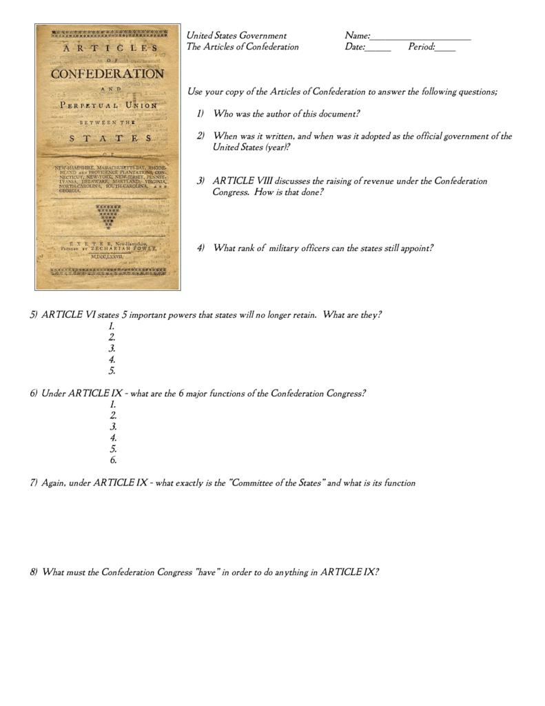 Worksheets Articles Of Confederation Worksheet articles of confederation worksheet