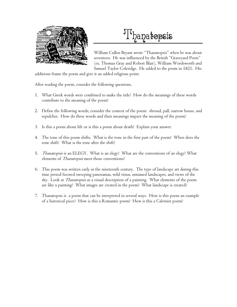 thanatopsis and dust in the wind worksheet answers