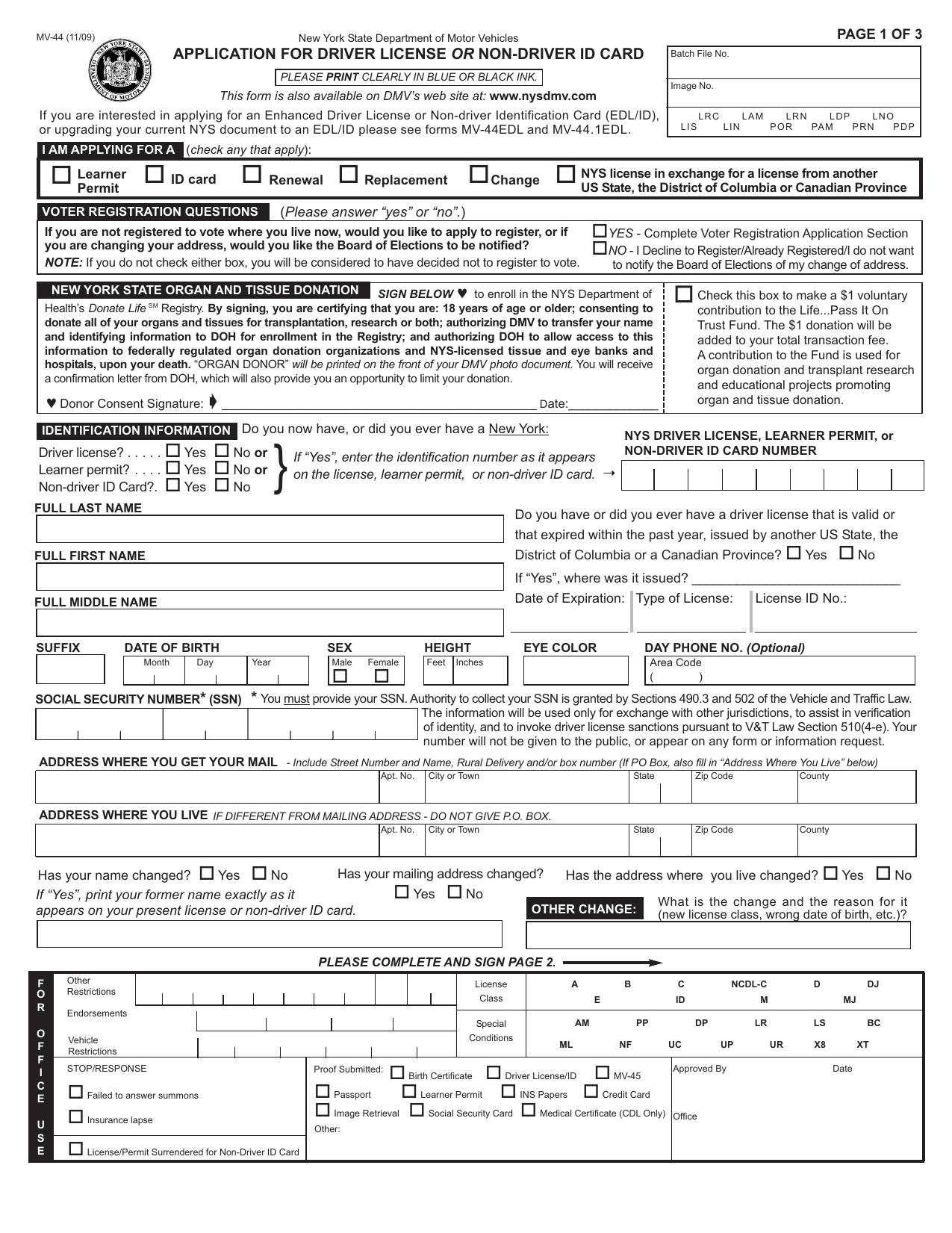 Application For License Driver mv-44