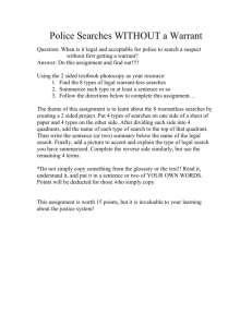 Warrantless Searches Assignment