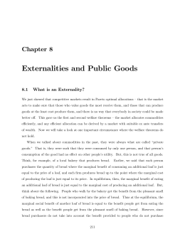 Chapter 8: Externalities and Public Goods