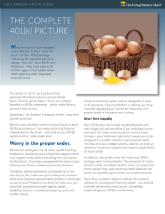 THE COMPLETE 401(k) PICTURE