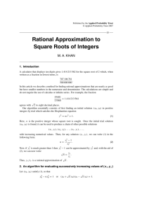 Rational Approximation to Square Roots of Integers