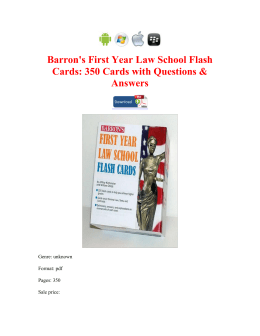 Barron's First Year Law School Flash Cards 350 Cards with